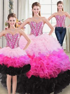 Beading and Ruffles Sweet 16 Quinceanera Dress Multi-color Lace Up Sleeveless Floor Length