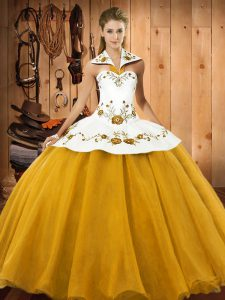 Dynamic Gold 15 Quinceanera Dress Military Ball and Sweet 16 and Quinceanera with Embroidery Halter Top Sleeveless Lace Up