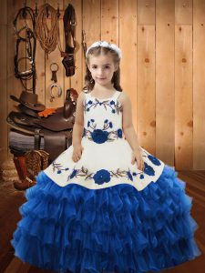 Blue Sleeveless Floor Length Embroidery and Ruffles Lace Up Pageant Dress for Womens