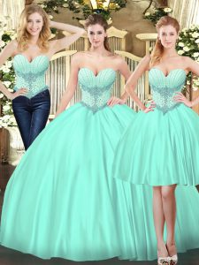 Fashion Three Pieces Quinceanera Dresses Apple Green Tulle Sleeveless Floor Length Lace Up