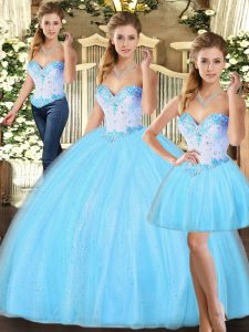 Noble Sweetheart Sleeveless Quince Ball Gowns Floor Length Beading Baby Blue Tulle