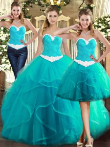 Fantastic Ruffles Quinceanera Gown Turquoise Lace Up Sleeveless Floor Length