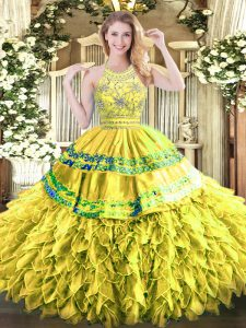 Best Selling Gold Zipper 15 Quinceanera Dress Beading and Ruffles Sleeveless Floor Length