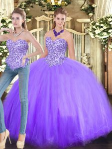 Custom Fit Beading Quinceanera Gown Lavender Lace Up Sleeveless Floor Length