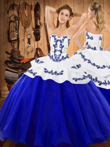 Pretty Royal Blue Lace Up Strapless Embroidery Quinceanera Gowns Satin and Organza Sleeveless