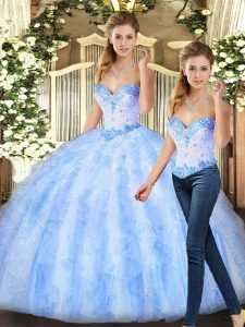 Captivating Floor Length Ball Gowns Sleeveless Lavender Sweet 16 Dress Lace Up