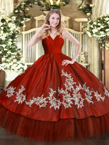 Custom Fit Embroidery Quinceanera Gown Wine Red Zipper Sleeveless Floor Length