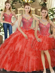 Modern Red Straps Lace Up Beading and Ruffles 15th Birthday Dress Sleeveless