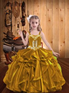 Charming Sleeveless Embroidery and Ruffles Lace Up Little Girls Pageant Dress Wholesale
