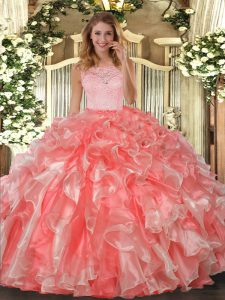 Organza Scoop Sleeveless Clasp Handle Lace and Ruffles Ball Gown Prom Dress in Coral Red