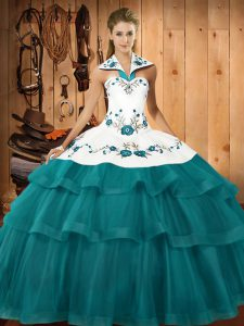 Modest Teal Sleeveless Embroidery and Ruffled Layers Lace Up Sweet 16 Quinceanera Dress