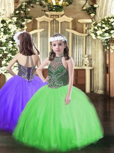 Sleeveless Beading Lace Up Little Girls Pageant Gowns