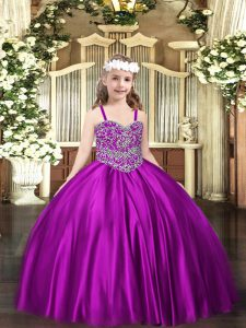 Floor Length Ball Gowns Sleeveless Purple Pageant Dresses Lace Up