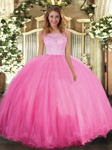 Rose Pink Clasp Handle Scoop Lace Quince Ball Gowns Tulle Sleeveless