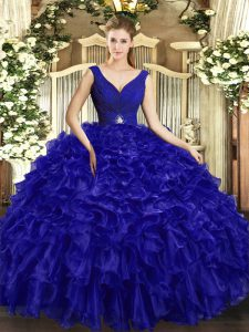 Decent Royal Blue Backless 15 Quinceanera Dress Beading and Ruffles Sleeveless Floor Length
