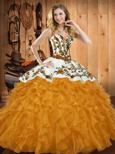 On Sale Gold Sleeveless Satin and Organza Lace Up Quinceanera Dress for Military Ball and Sweet 16 and Quinceanera