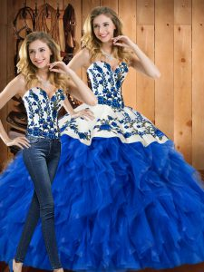 Unique Floor Length Blue Quinceanera Gown Satin and Organza Sleeveless Embroidery and Ruffles