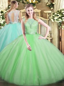 Apple Green Tulle Backless Ball Gown Prom Dress Sleeveless Floor Length Lace