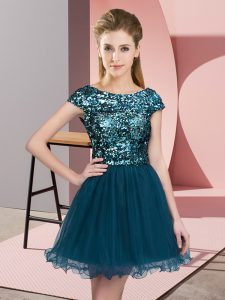 Scoop Cap Sleeves Zipper Quinceanera Court Dresses Teal Tulle