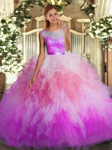 Suitable Floor Length Multi-color Ball Gown Prom Dress Organza Sleeveless Lace and Ruffles