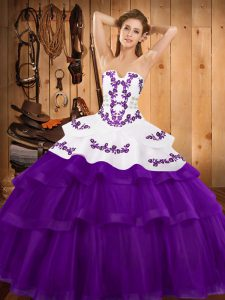 Vintage Ball Gowns Sleeveless Purple Quinceanera Gown Sweep Train Lace Up