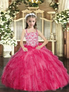 Floor Length Hot Pink Little Girls Pageant Gowns Organza Sleeveless Beading and Ruffles