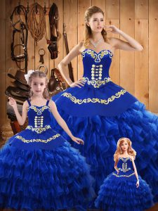 Graceful Blue Ball Gowns Sweetheart Sleeveless Satin and Organza Floor Length Lace Up Embroidery and Ruffled Layers Vestidos de Quinceanera