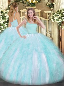 Sophisticated Straps Sleeveless Quinceanera Gown Floor Length Beading and Ruffles Aqua Blue Tulle