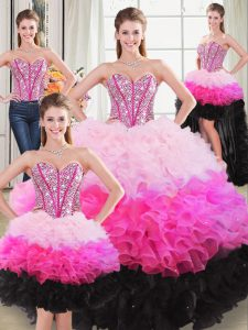 Pretty Beading and Ruffles Quinceanera Gown Multi-color Lace Up Sleeveless Floor Length