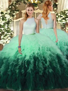 High-neck Sleeveless Tulle Quinceanera Dress Ruffles Backless
