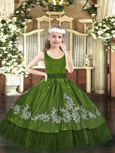 Sweet Floor Length Olive Green Kids Pageant Dress Scoop Sleeveless Zipper