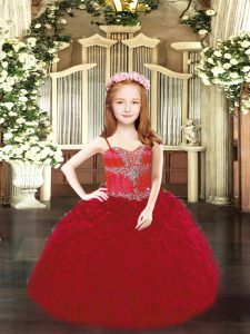 Wine Red Ball Gowns Spaghetti Straps Sleeveless Organza Floor Length Lace Up Beading and Ruffles Pageant Gowns For Girls