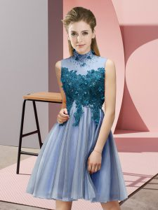 Blue Dama Dress for Quinceanera Prom and Party and Wedding Party with Appliques High-neck Sleeveless Lace Up