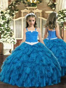 Classical Sleeveless Floor Length Appliques and Ruffles Lace Up Kids Pageant Dress with Blue