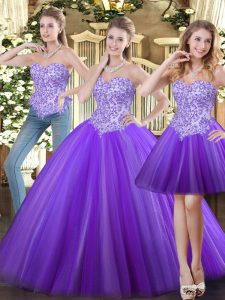 Charming Eggplant Purple Ball Gowns Sweetheart Sleeveless Tulle Floor Length Lace Up Beading 15th Birthday Dress