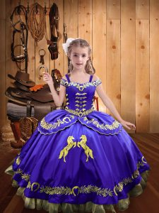 Dazzling Floor Length Purple Pageant Dress Satin Sleeveless Beading and Embroidery