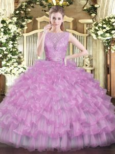 Spectacular Lilac Scoop Neckline Beading and Ruffled Layers Sweet 16 Dress Sleeveless Backless