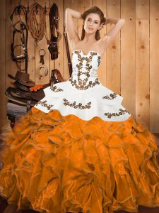 Orange Strapless Neckline Embroidery and Ruffles Sweet 16 Dress Sleeveless Lace Up