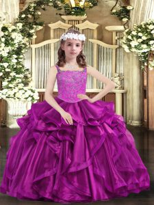 Cute Fuchsia Organza Lace Up Girls Pageant Dresses Sleeveless Floor Length Beading and Ruffles