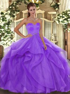 Lavender Tulle Lace Up Quince Ball Gowns Sleeveless Floor Length Beading and Ruffles