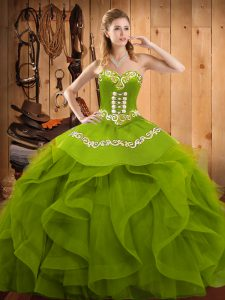 Decent Sweetheart Sleeveless Organza Quinceanera Gowns Embroidery and Ruffles Lace Up