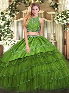Customized Olive Green Two Pieces Beading and Embroidery and Ruffled Layers Sweet 16 Quinceanera Dress Zipper Tulle Sleeveless Floor Length