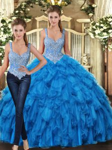 Attractive Floor Length Teal 15th Birthday Dress Tulle Sleeveless Beading and Ruffles