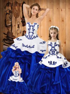 Floor Length Lace Up Quinceanera Gown Blue for Military Ball and Sweet 16 and Quinceanera with Embroidery and Ruffles