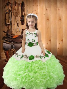 Trendy Yellow Green Lace Up Straps Embroidery and Ruffles Child Pageant Dress Fabric With Rolling Flowers Sleeveless