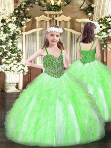 Nice Organza Sleeveless Floor Length Little Girl Pageant Dress and Beading and Ruffles