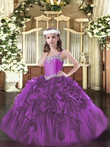 Exquisite Fuchsia Organza Lace Up Little Girls Pageant Dress Wholesale Sleeveless Floor Length Beading and Ruffles