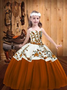 Dramatic Brown Lace Up Kids Formal Wear Embroidery Sleeveless Floor Length