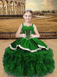 Green Lace Up Little Girls Pageant Dress Wholesale Beading and Ruffles Sleeveless Floor Length