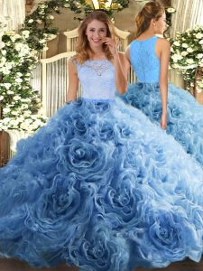 Charming Fabric With Rolling Flowers Scoop Sleeveless Zipper Beading and Ruffles 15 Quinceanera Dress in Baby Blue